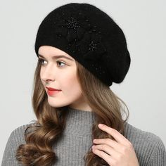 2017 winter hats for women hat with rhinestones rabbit fur hats for women s  knitted hat beanie 71cae58a1509