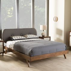 Penelope Mid-Century Modern Solid Walnut Grey Upholstered Queen Platform Bed