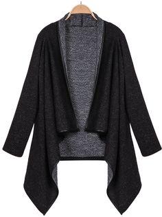 03ef1573d9d2c Shop Black Long Sleeve Asymmetric Hem Outerwear online. Sheinside offers  Black Long Sleeve Asymmetric Hem