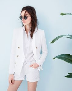 APR '15 Style Guide: J.Crew women's double breasted blazer, long boy shirt, white denim short and Ray-Ban retro round sunglasses.