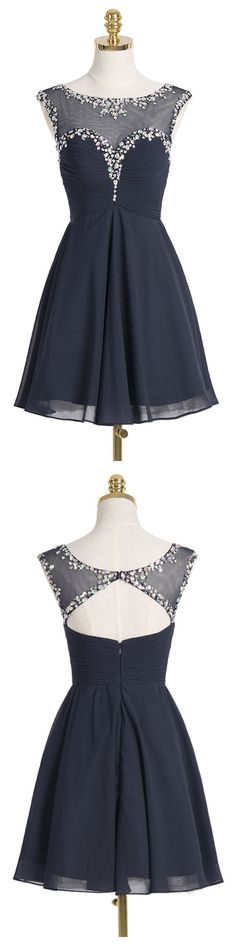 A-line Scoop Short Navy Blue Chiffon Homecoming Dress With Crystal Sequins