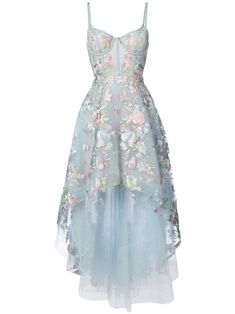 Blue dress with ribbed bodice and floral embroidery
