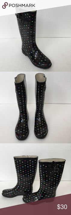 Polka Dotted Rain Boots These polka dotted rain boots have a rubber upper and a moisture-absorbing polyester/cotton lining. There is a side pull tab and a trended rubber sole. There is a hard water build up on each side of the boot near the buckle that however the stains are hardly noticeable. See last pic for review. These boots are in excellent used condition. See similar item in my closet. Bundle and save. No offers on bundles accepted with current sale. Merona Shoes Winter & Rain Boots