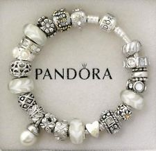 Pandora Bracelet White Murano Beads Pearl Charms