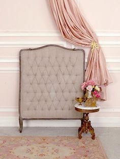 Taupe Upholstered French StyleTwin Headboard with Tufting