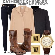Beauty and the Beast by wearwhatyouwatch on Polyvore featuring Iris & Ink, French Connection, Michael Kors, UGG Australia, Oasis, Vince Camuto, skinny jeans, bomber jackets, rubber watches and stud earrings
