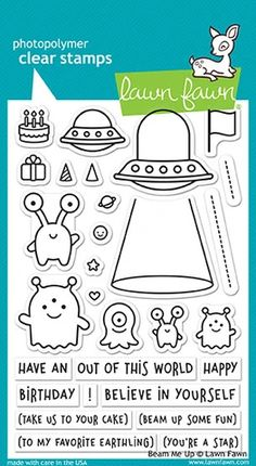 """Lawn Fawn Stamp Set Beam Me Up Beam up some fun with this cute set of aliens! This out of this world stamp set is great for fun birthday greetings or inspirational """"believe in yourself"""" messages. Funny Cards, Cute Cards, Diy Cards, Moving Announcements, Announcement Cards, Lawn Fawn Blog, Tiny Gifts, Lawn Fawn Stamps, Out Of This World"""