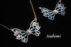 tatted/beaded butterfly necklace