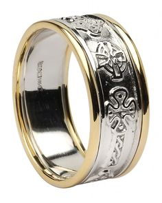 White Gold Celtic Cross Wedding Ring with Trim Irish Wedding Rings, Celtic Wedding Bands, Celtic Spiral, Celtic Crosses, Celtic Rings, Celtic Designs, Claddagh, Jewelry Rings, Rings For Men