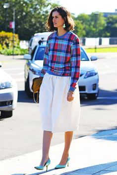 Streetpeeper.com Street Fashion Top: Red and Blue Plaid Top Skirt: White Skirt Photo By: Phil Oh