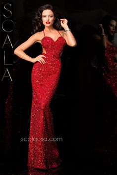 #SCALA Fall 15 style 48389 Red #Fall2K15 #Homecoming2K15 #Dress #Fancy #Formal www.scalausa.com