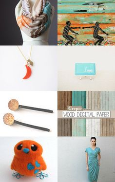 Turquoise and Orange  by Luisa Perez on Etsy--Pinned with TreasuryPin.com