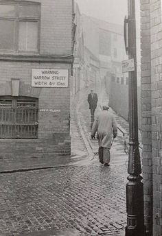 Drury Hill , Nottingham c1960s  The warning sign was saved and now resides in Wollaton Hall Industrial Museum.