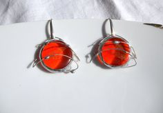 Orange spatial earrings, fused glass gems, sterling silver, orange glass and gold foil, Tiffany, orange, gold, big earrings, glass earrings, di LaTerraCanta su Etsy NEW NEW NEW!!!