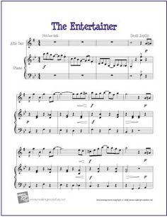 The Entertainer by Scott Joplin | Free Sheet for Alto Saxophone -  http://www.makingmusicfun.net/htm/f_printit_free_printable_sheet_music/the-entertainer-alto-sax.htm                                                                                                                                                                                 More
