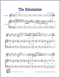 The Entertainer by Scott Joplin | Free Sheet for Alto Saxophone -  http://www.makingmusicfun.net/htm/f_printit_free_printable_sheet_music/the-entertainer-alto-sax.htm