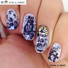 #Repost @uma_s_nailart with @repostapp.  GOTHIC GRAVEYARD  My entry for @bundlemonster #halloween contest #bundlemonster #MONSTERSCREAM  Base is dry marble using @azaturebeauty faint white and black polish.  Images on:- Pointy @bornprettystorenailart BP-L012 Middle #bm H08 and words DEAD IN SIDE are from @uberchicbeauty #zombielove Ring : flying which is from @time1780 #heheplates 068and words Don't OPEN IT is again #ucb on pinky : tree from NM-409  Stamping polish black @mundodeunas Top…