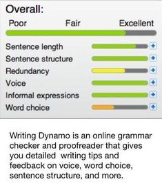 ESSAY HELP FOR SCHOOL♥ Writing Dynamo is an online grammar checker and proofreader that gives you detailed writing tips and feedback on voice, word choice, sentence structure, and more. Book Writing Tips, Cool Writing, Writing Help, Creative Writing, Writing Prompts, Writing Papers, Writing Ideas, Grant Writing, Writing Jobs
