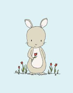 Bunny Nursery Art Happy Spring Bunny by SweetMelodyDesigns, $10.00