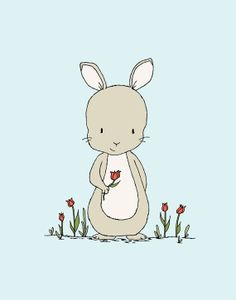 Bunny Nursery Art  Happy Spring  Bunny by SweetMelodyDesigns, $10.00