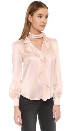 Silk satin bow blouse