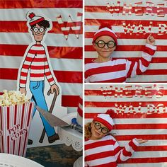 Where is Waldo costume Wo Ist Walter, Where's Waldo Costume, 4th Birthday Parties, 8th Birthday, Halloween Camping, Wheres Wally, Party Background, Trunk Or Treat, Family Costumes