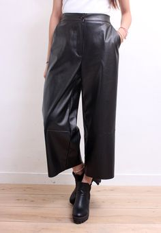High Waisted Imitation Leather Wide Leg Ankle Pants | Drive Store
