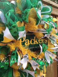 Green Bay Packers Decomesh Green Yellow Wreath by TheWhimsicalDoor Sports Wreaths, Mesh Wreaths, Packers Wreath, Green Bay Packers Colors, Packers Football, Printed Ribbon, Diy Halloween Costumes, Sports Teams, Christmas Wreaths