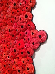 "Barletta's ""Pelt"" (seen in this detail) resembles microscopic cells writ large. The process of crochet, which uses small units to build a larger whole, mimics the growth of biological organisms. Freeform Crochet, Knit Crochet, Organic Art, Patterns In Nature, Painting Inspiration, Textile Art, Creative Art, Fashion Art, Crochet Earrings"