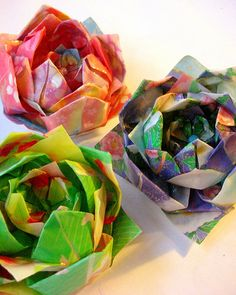 Amazing origami lotus flower brooches.