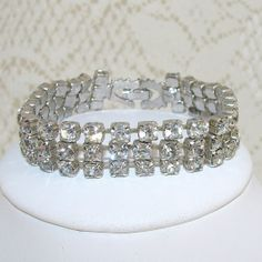 Vintage Bracelet 3 Row Rhinestone Jewelry Wedding Bridal by OhFaro, $32.00