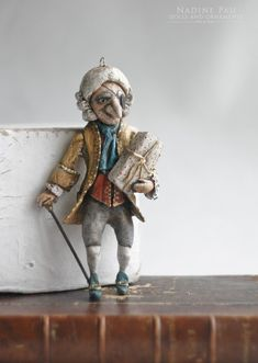 "Drosselmeyer (collection of ""The Nutcracker"") by Nadine Pau. Christmas ornaments. Papier mache, oil patina varnish. Sold #christmasornaments #nadinepau"