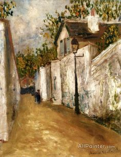 Maurice Utrillo The Rue Saint-vincent And A Thatched Roof House In Montmartre oil painting reproductions for sale