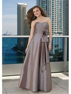 Taffeta Strapless Pleated Sweetheart Floor-length A-line Bridesmaid Dress
