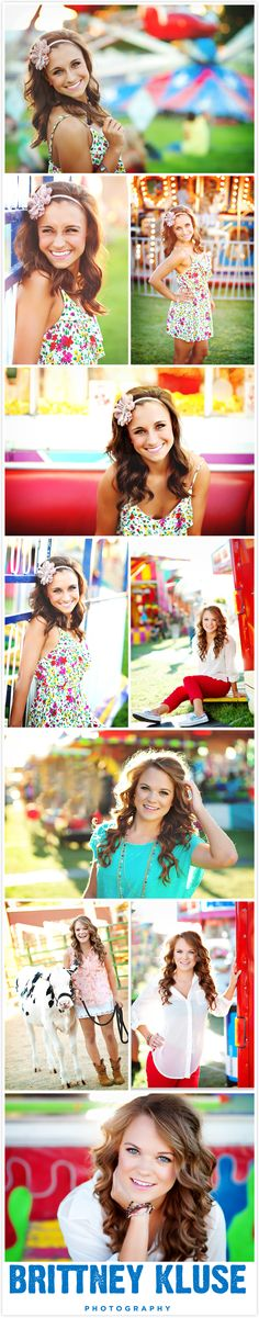 Seniorologie  I want to take pictures at a fair, this looks so fun, and Iove the bright colors of the background! Love this!!