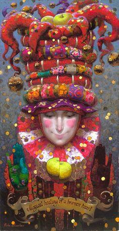 Victor Nizovtsev, Russian fantasy painter (love love love this - fun! Victor Nizovtsev, Arte Peculiar, Pierrot Clown, Art Fantaisiste, Illustration Art, Illustrations, Arte Sketchbook, Whimsical Art, Oeuvre D'art