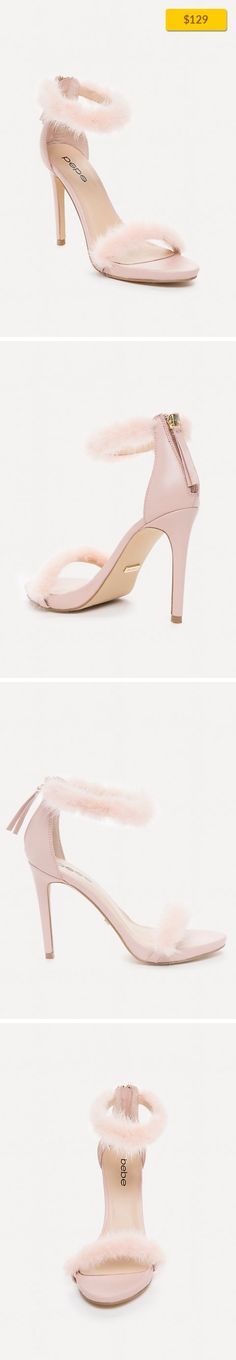 """Paaris Faux Fur Sandals SHOES, SANDALS PALE BLUSH   Boudoir-vibe sandals in a posh leather accented by playful faux fur straps. Stiletto heels. Back zip closure. Leather upper, synthetic outsole Imported Heel height: 4"""" (10.25 cm)"""