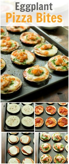 These delicious and healthy Eggplant Pizza Bites are low-carb, gluten-free, and very flavourful! They are made with homemade tomato sauce, mozzarella, and spinach! Eggplant Pizza Bites Recipe - Primavera Kitchen Luther Beck beckshort Dinner These Eggplant Pizza Recipes, Eggplant Pizzas, Eggplant Appetizer, Healthy Eggplant Recipes, Vegetable Recipes, Vegetarian Recipes, Cooking Recipes, Healthy Recipes, Appetizer Recipes