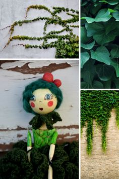 Ivy paper clay inspiring art doll marionette, woodland green handmade doll, click and see more pictures!