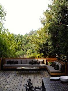 wood deck built in outdoor sofa ; Gardenista