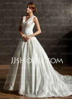 Vestidos princesa/ Formato A Decote V Cauda capela Cetim Vestidos de noiva com Bordados Bordado (002011506)