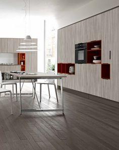 Grey Kora elm laminate kitchen Cesar Italian design