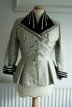 1950 | Grey and Black Flecked Wool Jacket with White Piping Arrow Detail by Lilli Ann