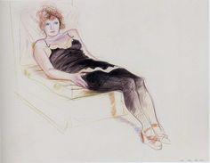 """""""David Hockney (1937-) Celia in a Black Slip Reclining, Paris, 1973 """""""