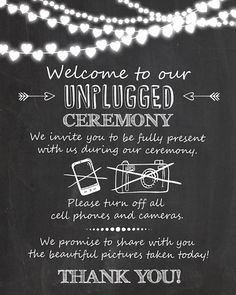 Unplugged ceremony wedding sign Unplugged by Anietillustration