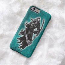 Black Teal Horror Grim Reaper Skeleton Tattoo iPhone 6 Case