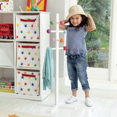 There's much more hope of coats or dressing up outfits being hung up neatly with this child sized coat stand.