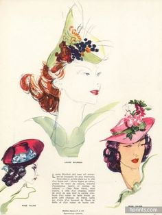 Domergue 1938 Rose Valois, Louise Bourbon, Suzanne Talbot, Hats Fashion Illustration