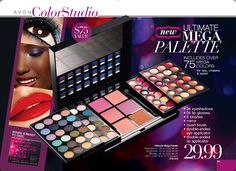 Avon's Ultimate Mega Makeup Palette is here! This incredible set includes: 36 eyeshadows, 36 lip glosses, 6 blushes, a mirror, blush brush, double-ended eye applicator, and double-ended lip applicator. All for only $29.99, buy this set online at http://eseagren.avonrepresentative.com/