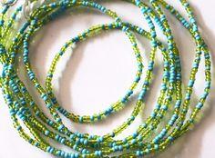 Waist Beads Blue Waist Beads Green Waist Beads by AfrowearHouse #waistbeads